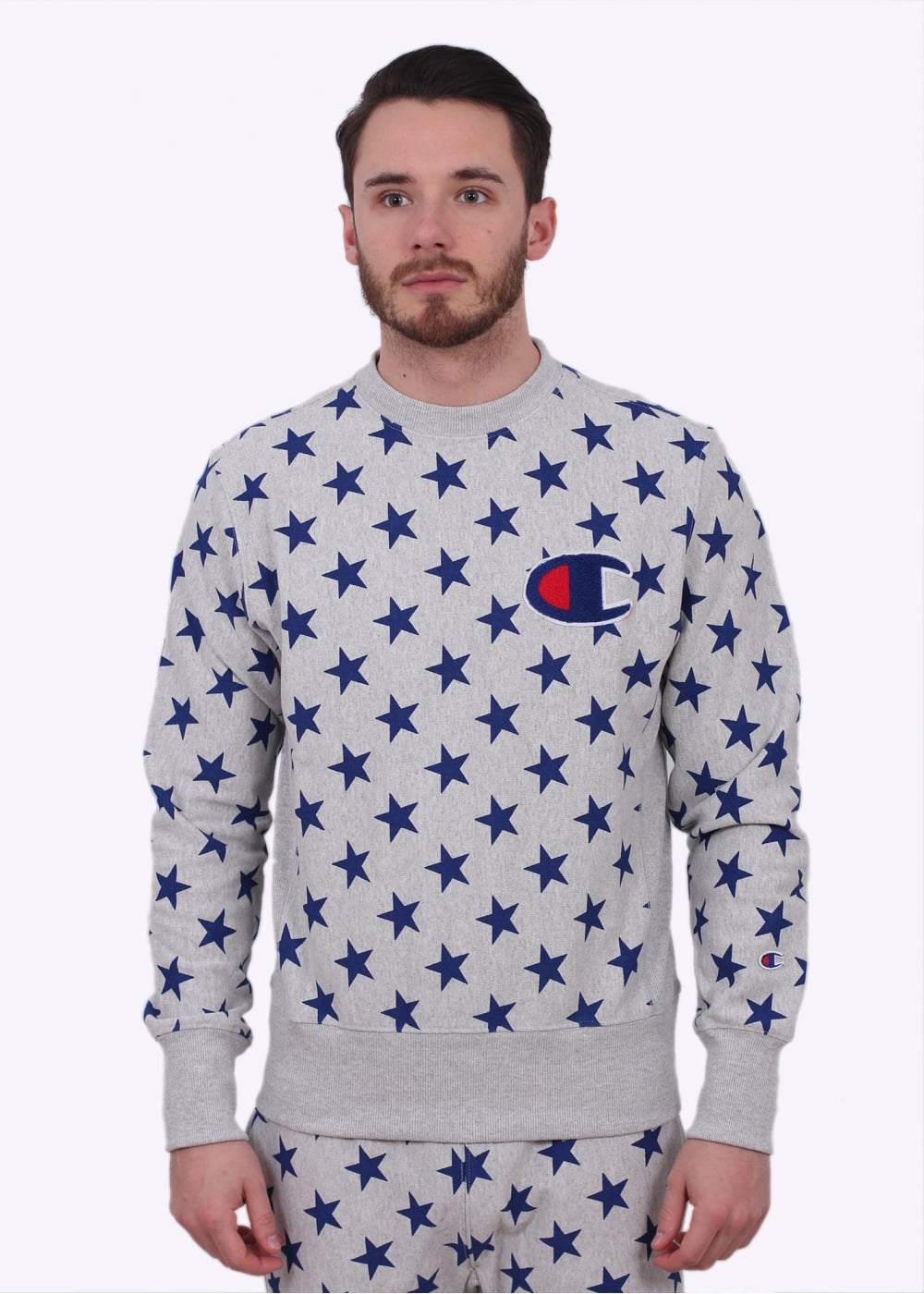Star Sweater Reverse Weave Grey Champion Allover Print yPmN8vn0wO