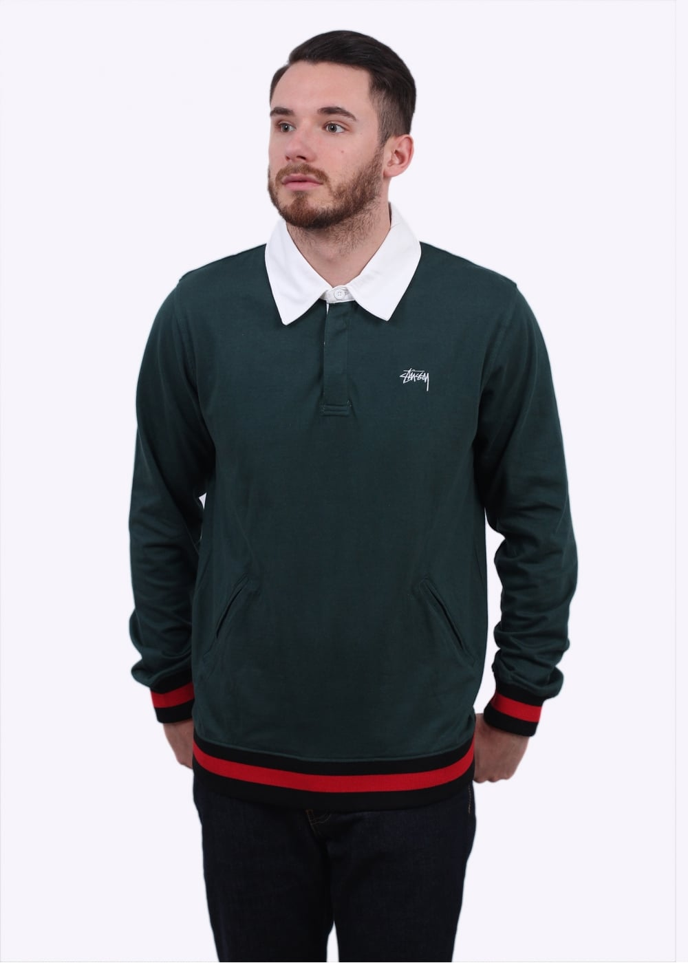 4e755bbf1e8 Stussy Pocket Rugby Shirt - Green - T-shirts from Triads UK