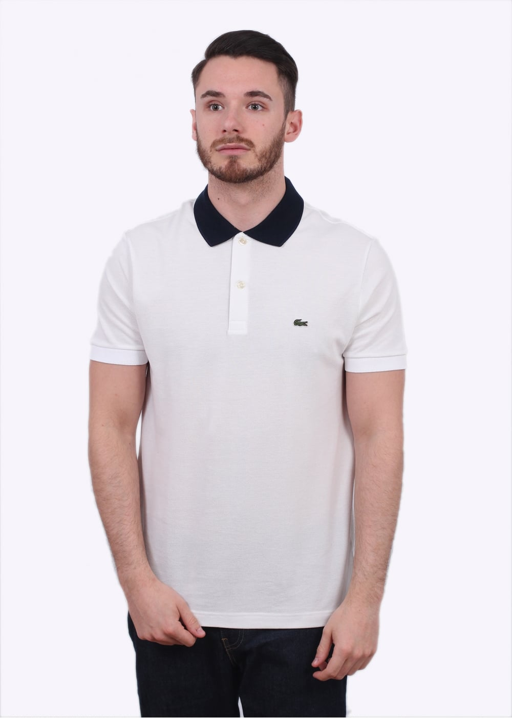 2f970b7f30 Lacoste Block Colour Polo Shirt - White / Navy - Triads Mens from ...