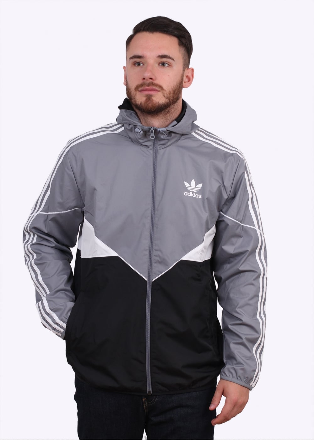 adidas originals apparel crdo windbreaker grey black. Black Bedroom Furniture Sets. Home Design Ideas