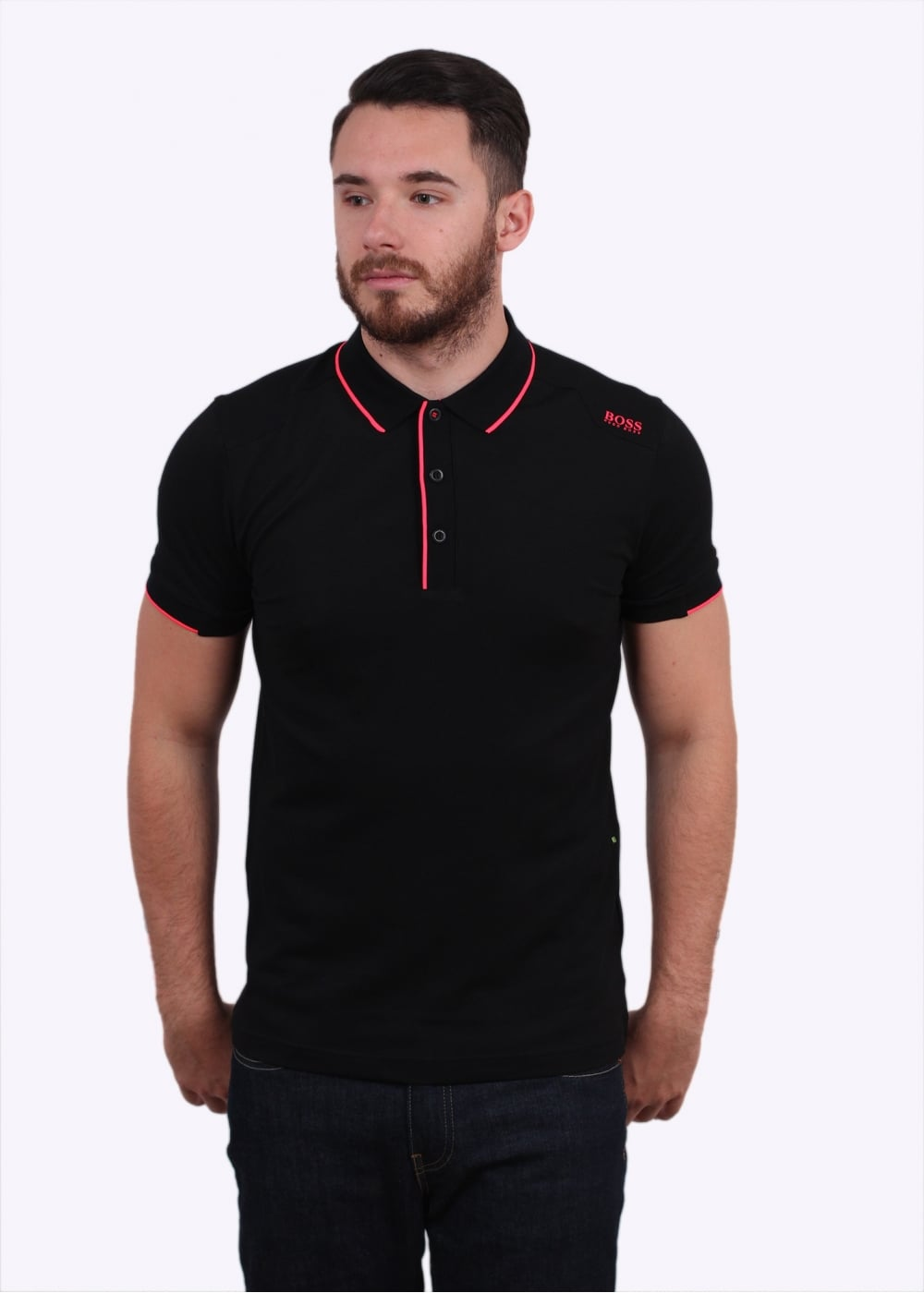 Hugo boss green paule 1 polo shirt black polo shirts for Hugo boss green polo shirt sale