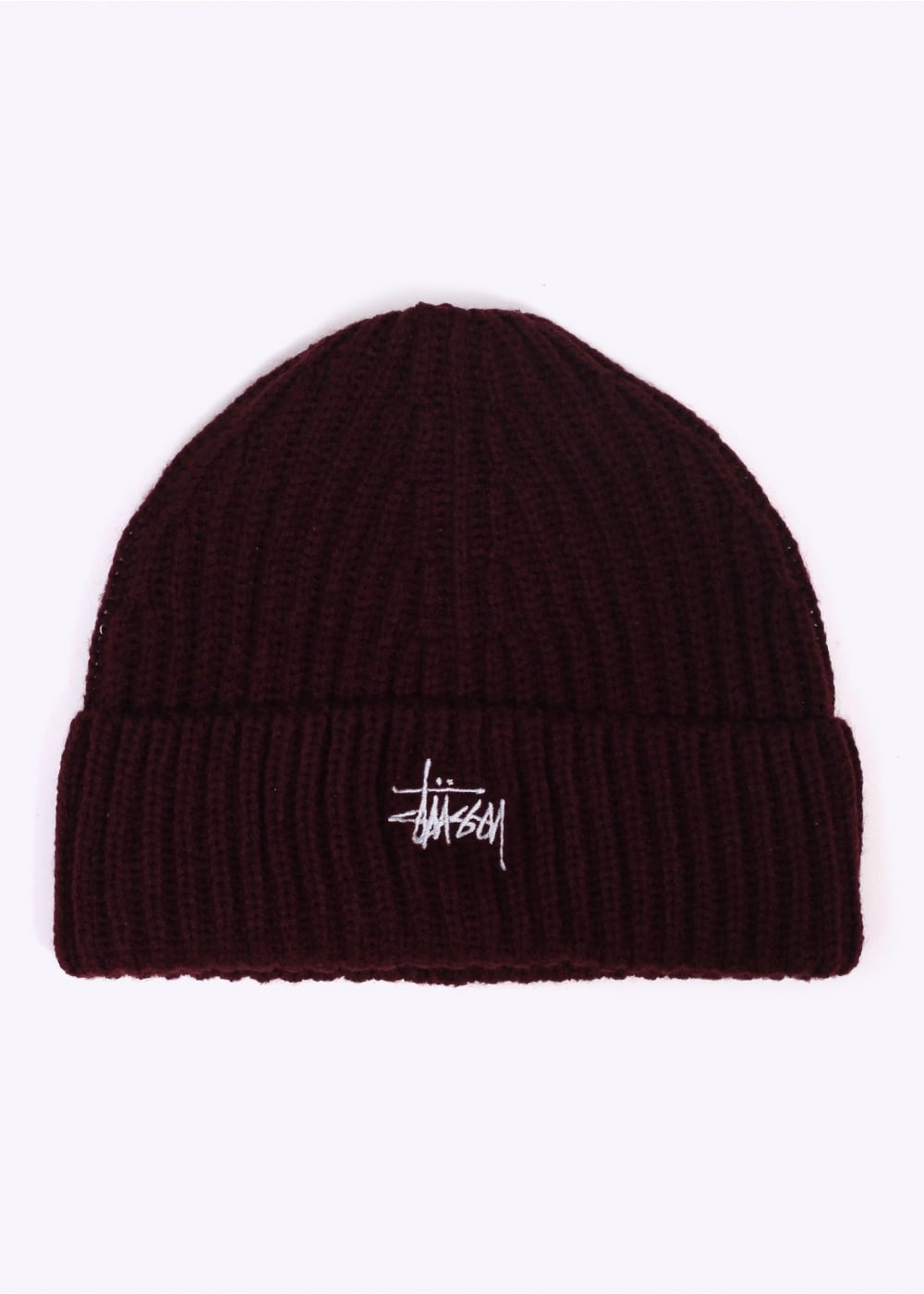 Stussy Stock Cuff Beanie - Burgundy - Headwear from Triads UK 9cfc8e5cb58
