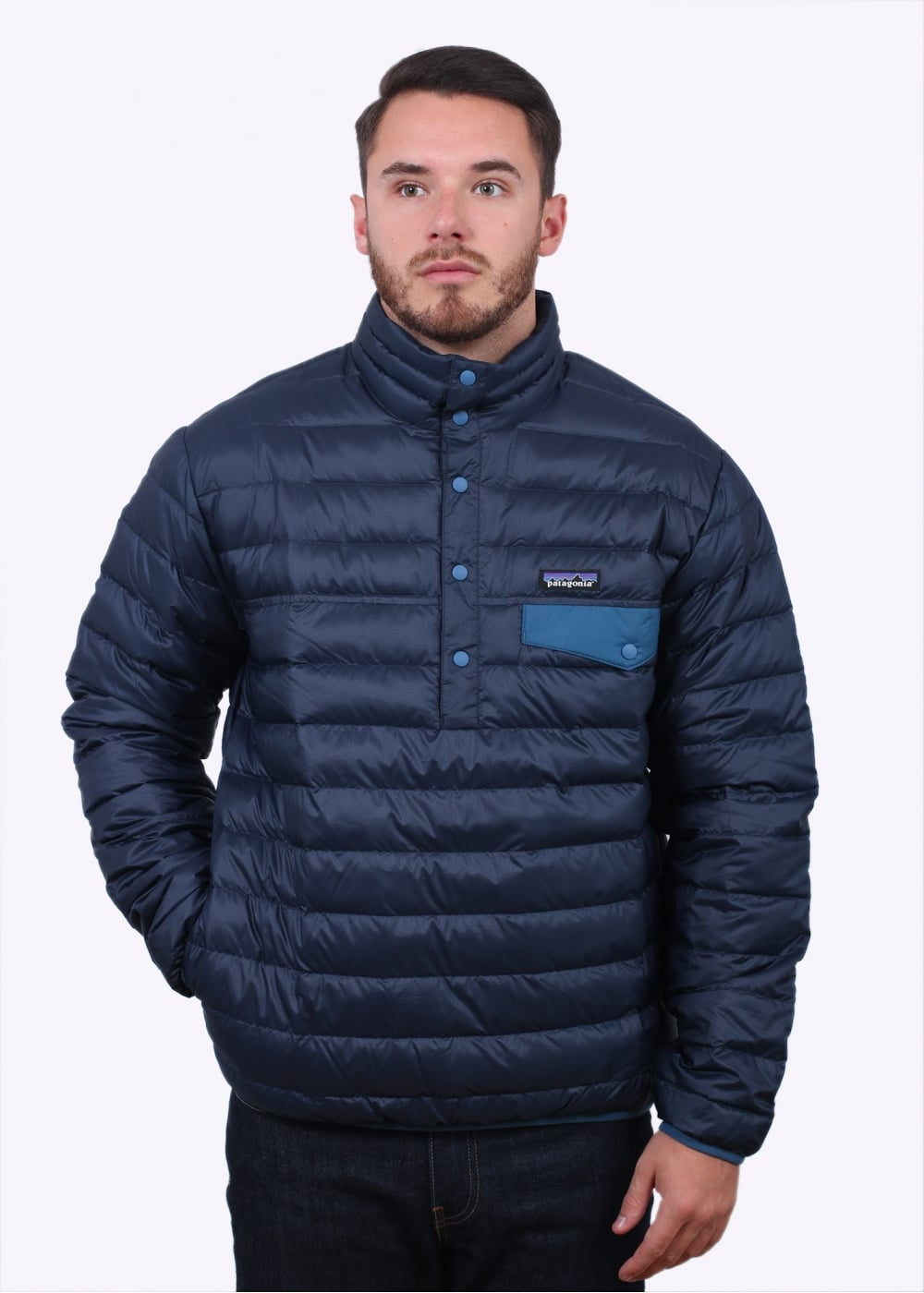 Patagonia down snap t pullover navy blue jackets from for Patagonia men s recycled down shirt jacket