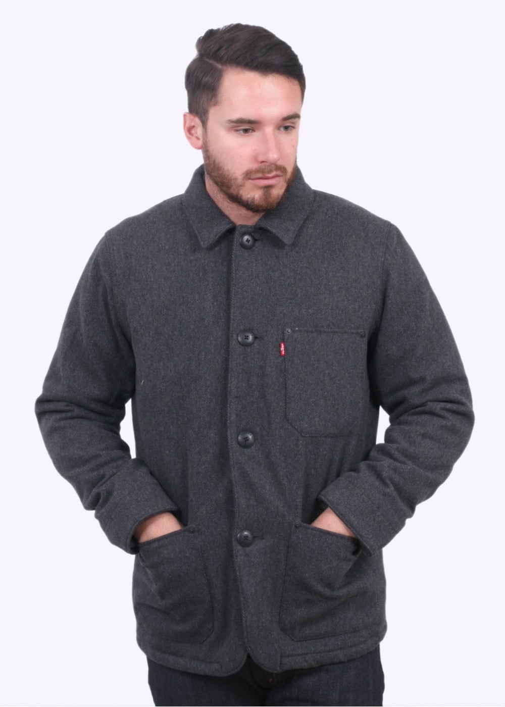 Levi 39 s red tab wool engineers coat black grey heather for Mens red wool shirt