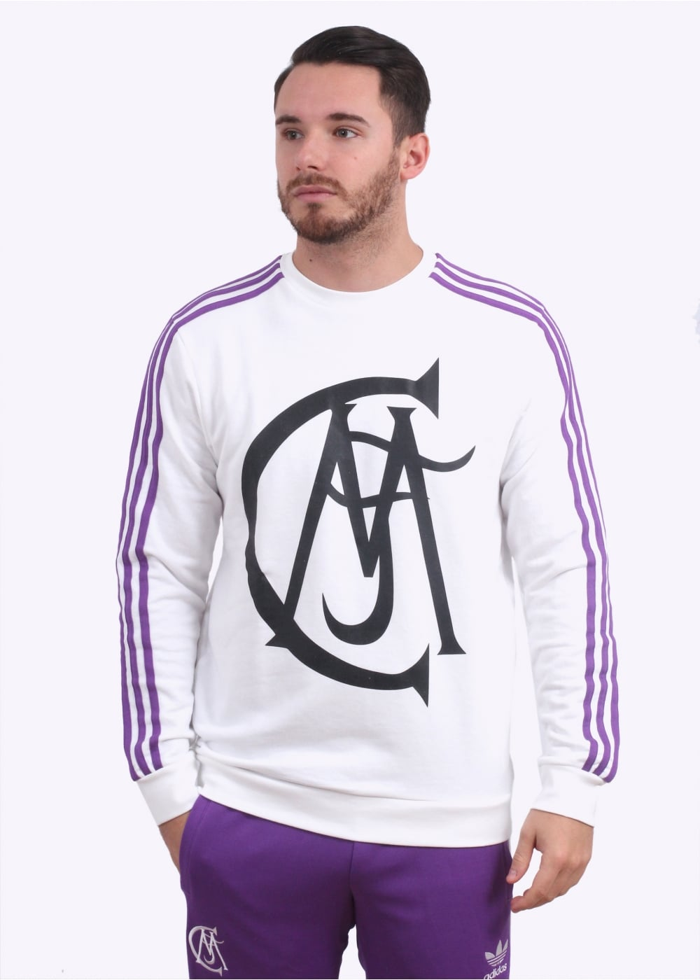 2e20dc20d adidas Originals Apparel Real Madrid Crew Sweater - Black   Purple ...