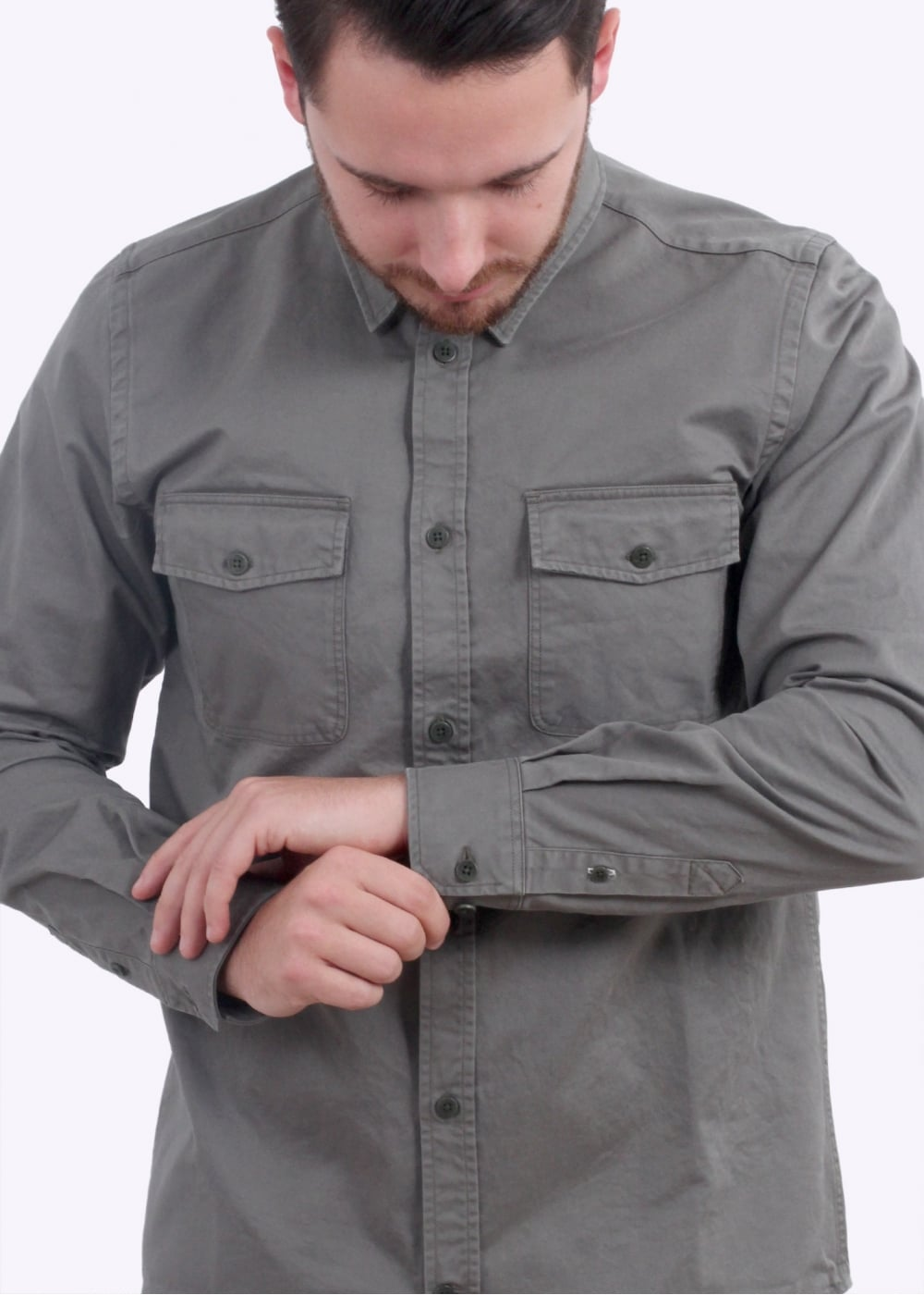 03b7b565fa7 Norse Projects Villads Compact Twill Shirt - Dried Olive - Shirts ...