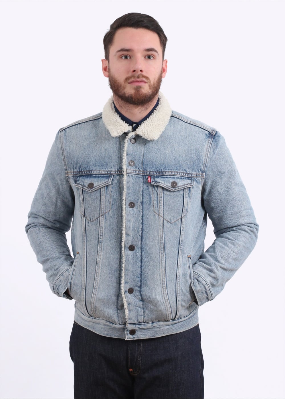 Type 3 Sherpa Trucker Light Denim Triads Mens From