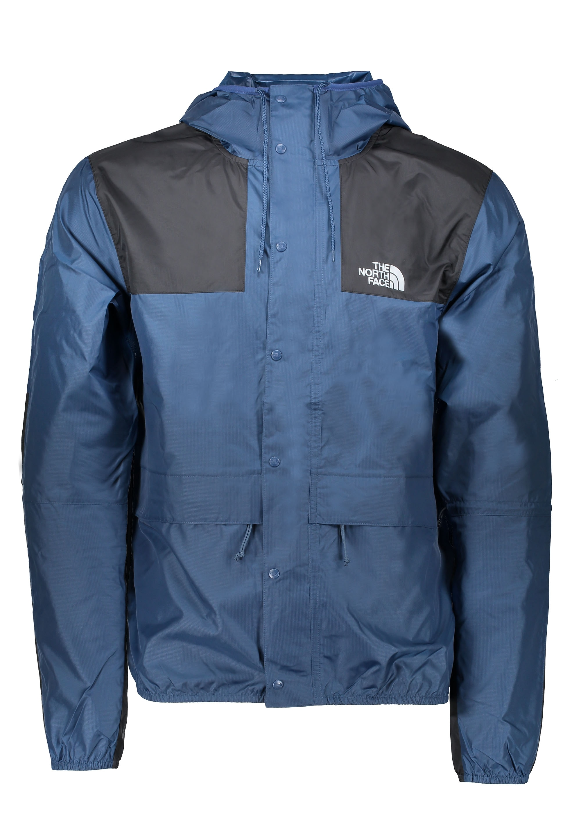 blue north face jacket with hood