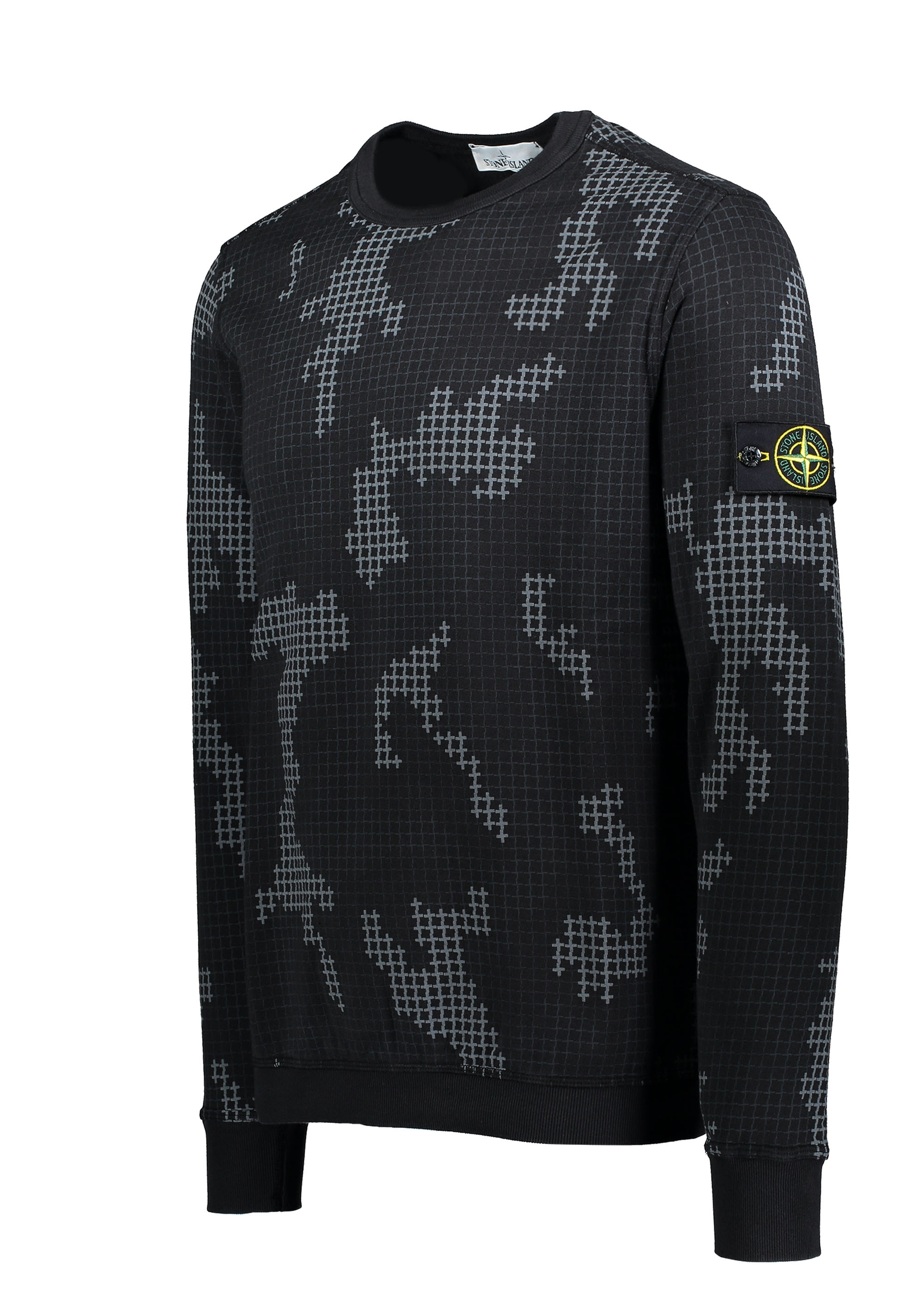 7613615d Stone Island Grid Camo Sweat - Black - Triads Mens from Triads UK