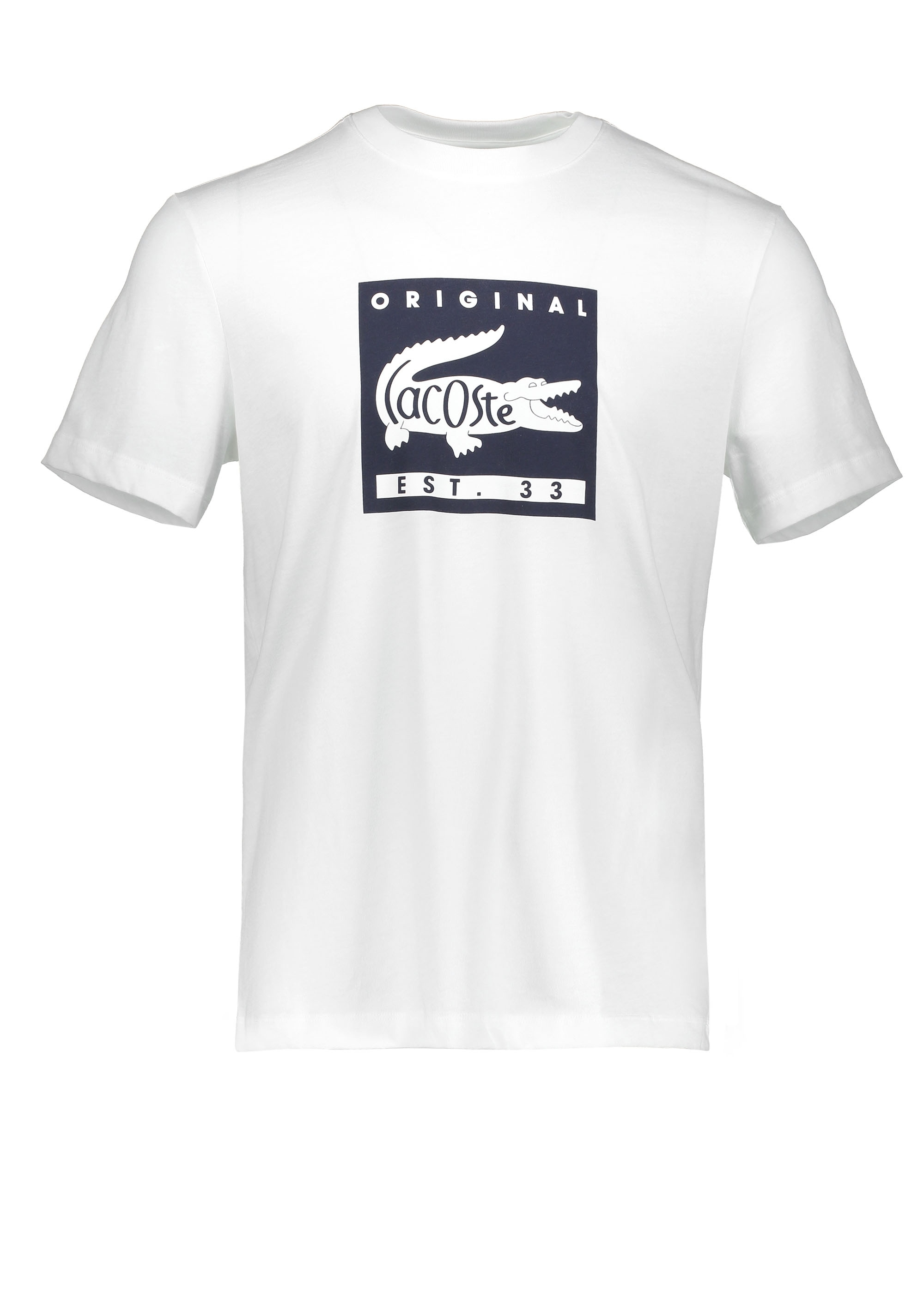 f940d362 Lacoste Patch Logo Tee - White / Navy Blue - T-shirts from Triads UK
