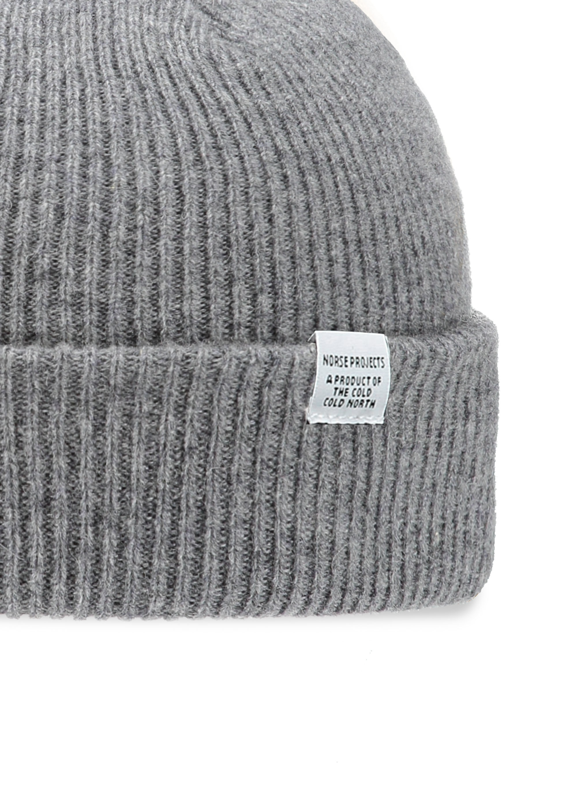 a00b5a1d285 Norse Projects Norse Beanie - Light Grey Melange - Headwear from ...