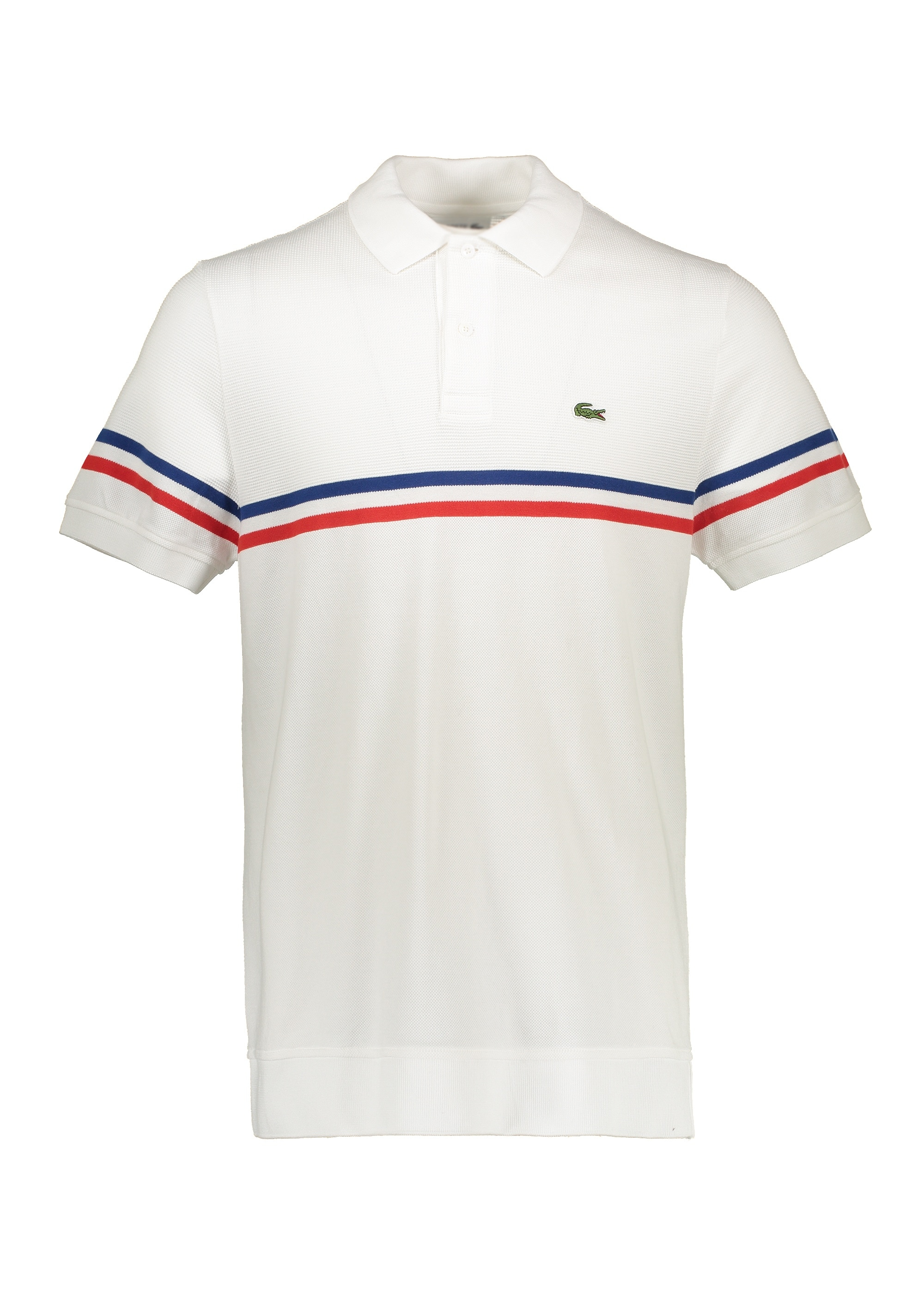 c7f8f4ff6c Lacoste Knit Stripe Polo - White / Salvia - Polo Shirts from Triads UK